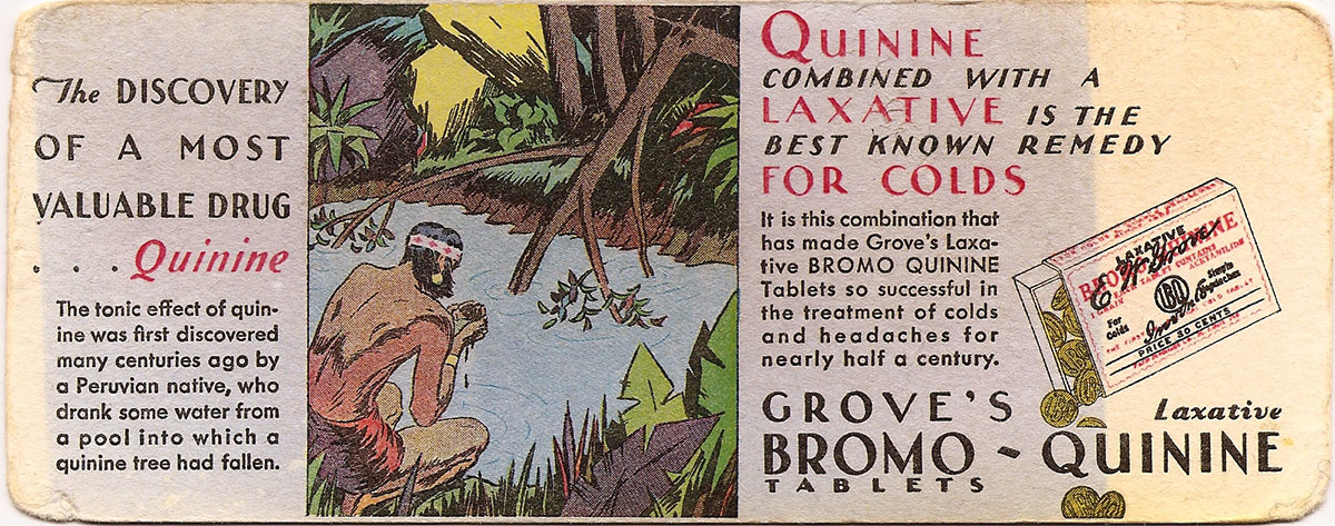 Advertising brochure for Grove's Bromo quinine, explaining the Peruvian legend.