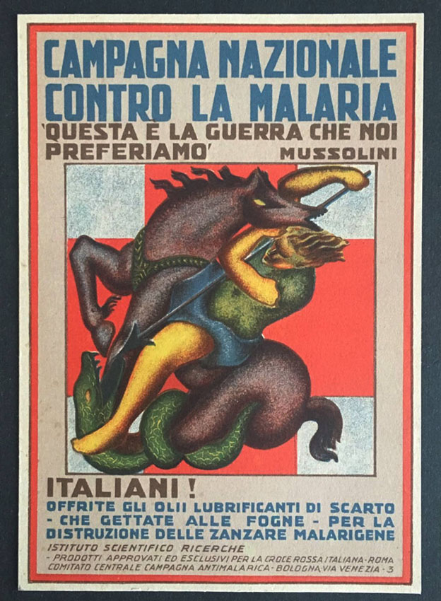 Publicity postcard for the fight against malaria in Italy.