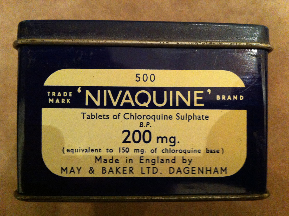 Box with chloroquine sulphate. Photo: Quique Bassat.