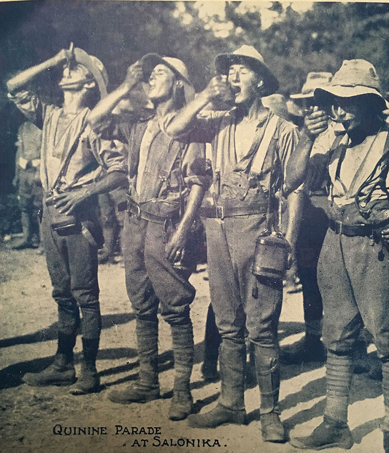 A group of soldiers taking their antimalarial treatment in Greece.