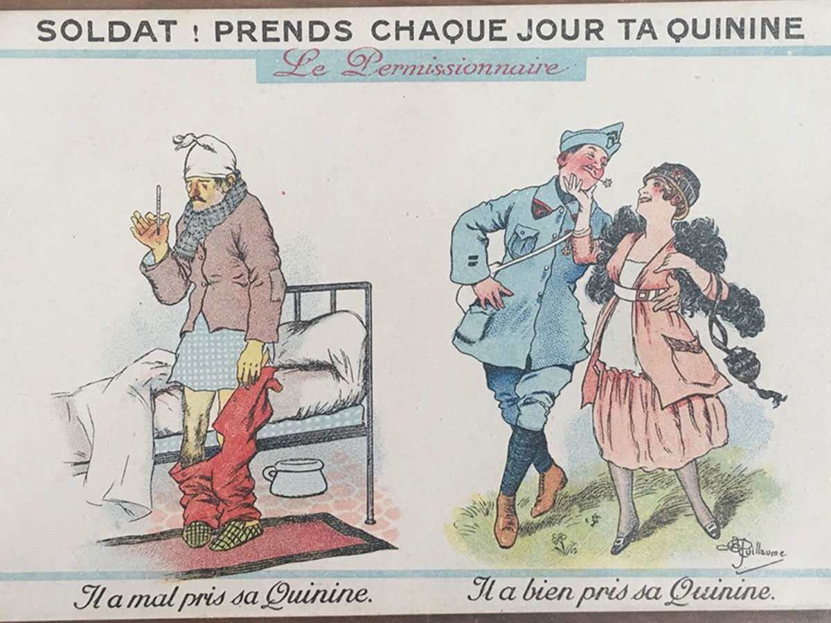Cartoon to encourage the use of quinine among French soldiers.