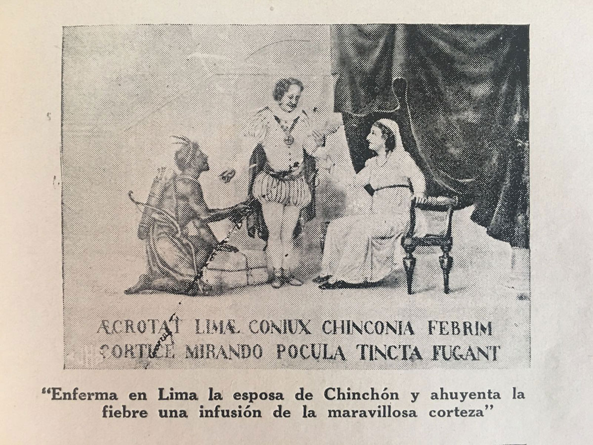 Illustration in Ricardo Palma's book showing the legend of the Countess and her powders.