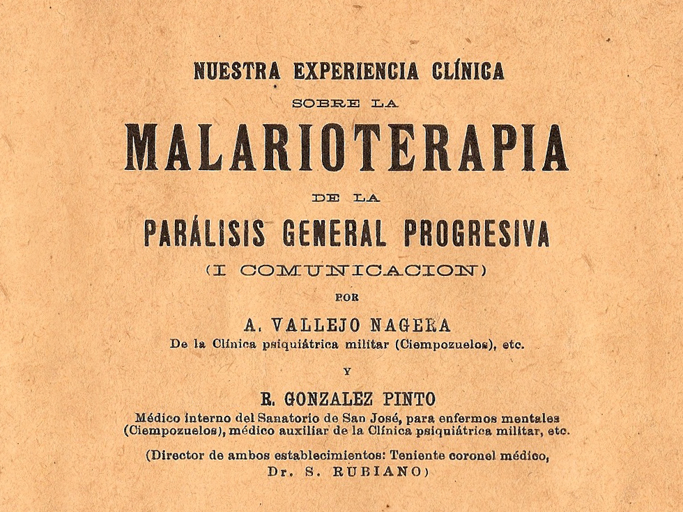Cover of the booklet entitled Our Clinical Experience with Malariotherapy for Progressive General Paralysis.