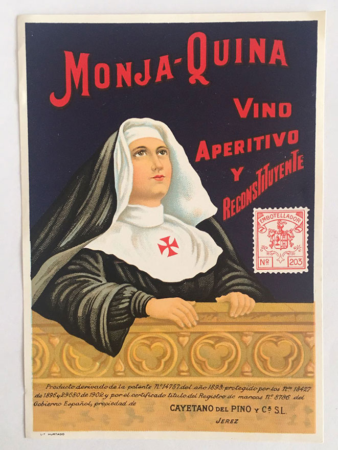 Advertising brochure of the appetizer and restorative wine Monja-Quina. Photo: Quique Bassat.